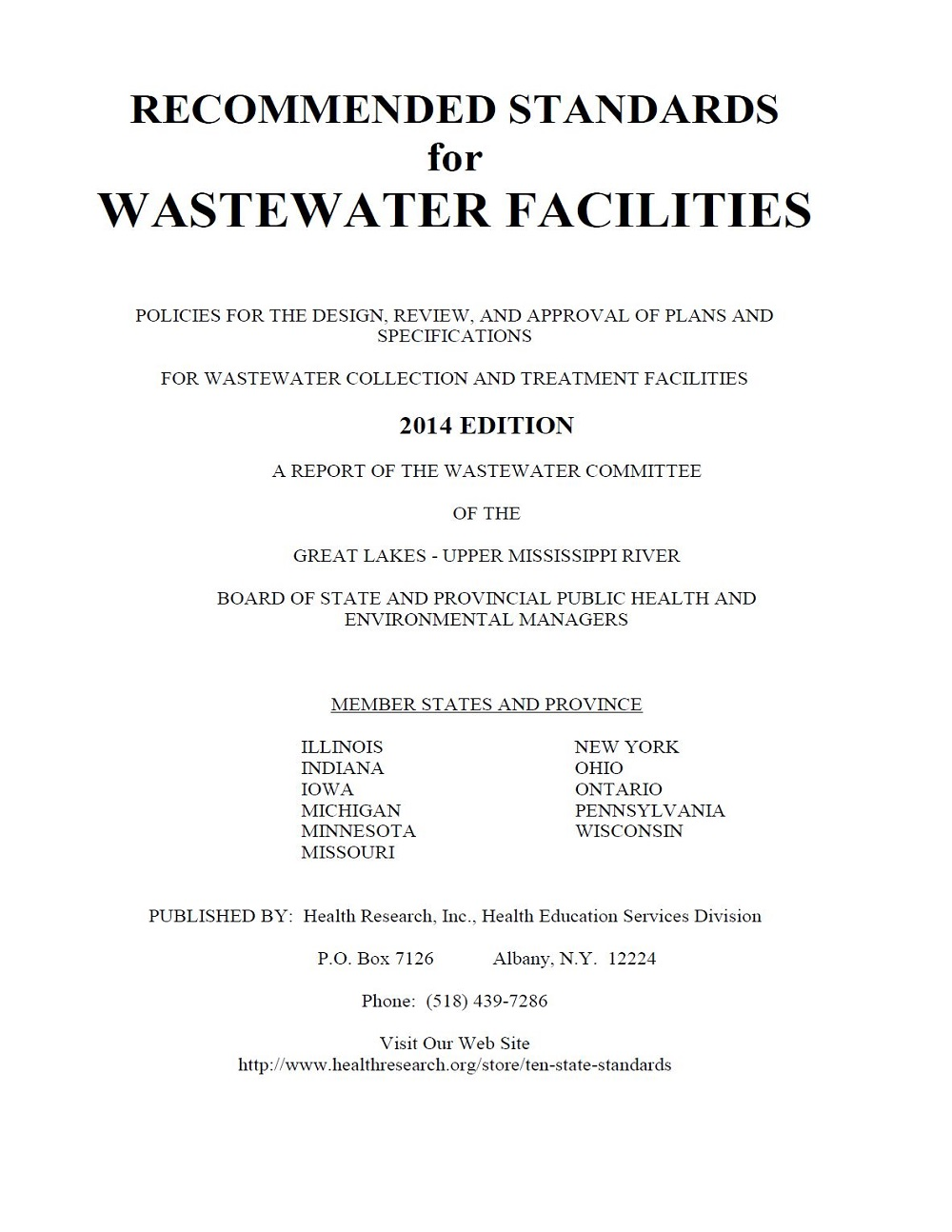 Recommended Standards for Wastewater Facilities